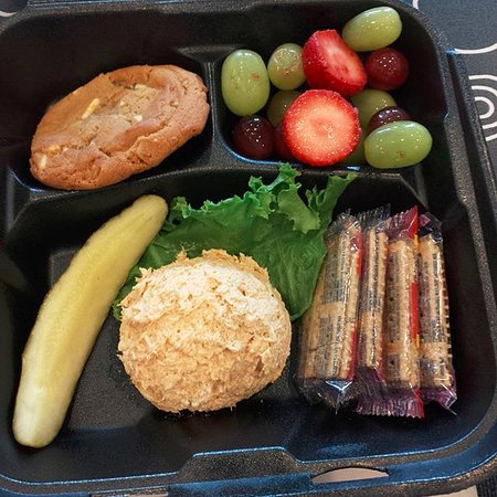 Chicken Salad Chick: Scoop of chicken salad, fresh fruit, and a fresh baked cookie to go