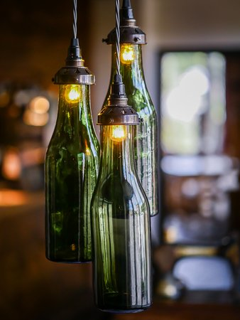 Upton Bishop, UK: Re-purposed wine bottles