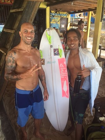 Padang Padang Surf Camp: Coach Monot and I after he qualified for the next round of the Hurley Open! Congrats boss!