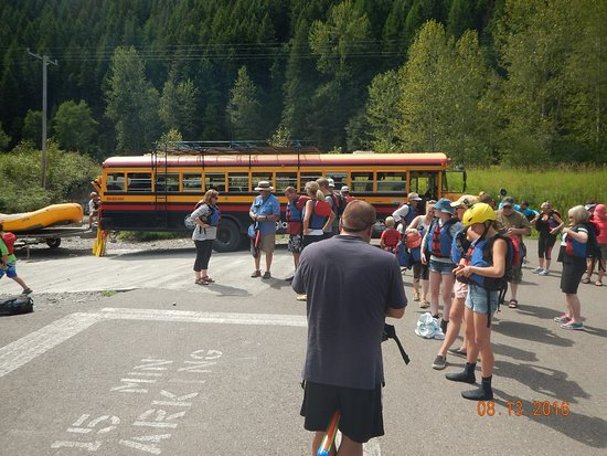 West Glacier, MT: Unloading rafts and Gearing up