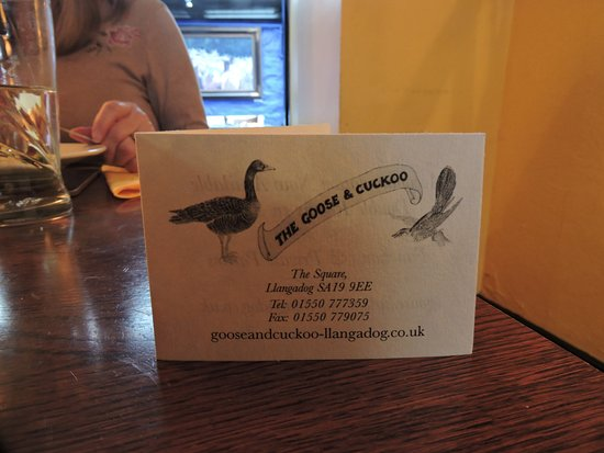 Llangadog, UK: Information Card on tables