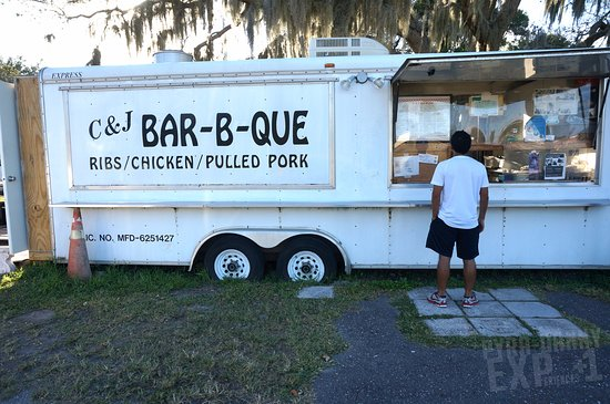 c j s bbq regular unassuming food truck the smoker is outside at