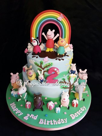 Peppa Pig Cake With All Of Her Friends Picture Of Cupcake Heart