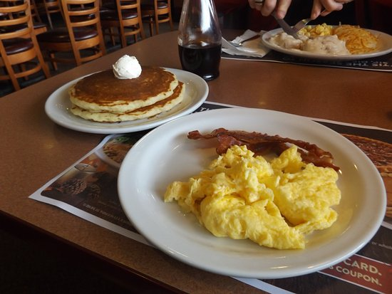 Scrambled eggs, bacon and pancakes - Picture of Denny's ...