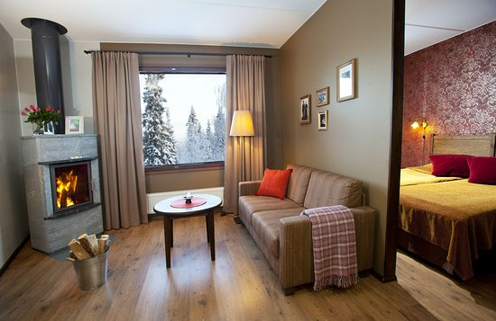 Luosto, Finland: Superior room with sauna and fireplace