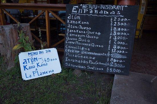 Hetu U: The menu