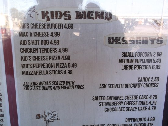 Clearwater Cinema Cafe: Kids menu