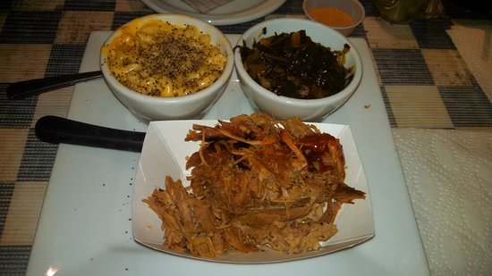 Indian, AK: Pulled Pork platter with mac & cheese, turnip greens