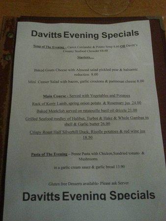 Davitts Restaurant: ementa
