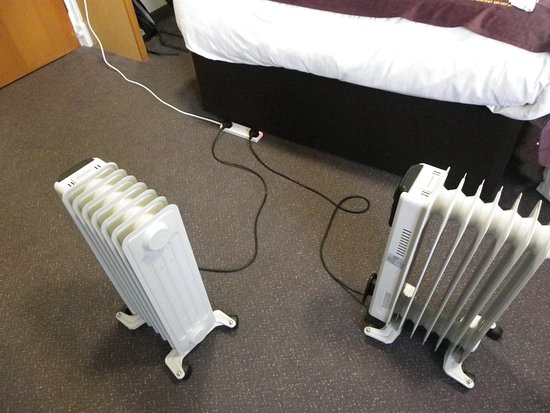 Premier Inn Edinburgh East Hotel: These are the portable heaters that we had to use.