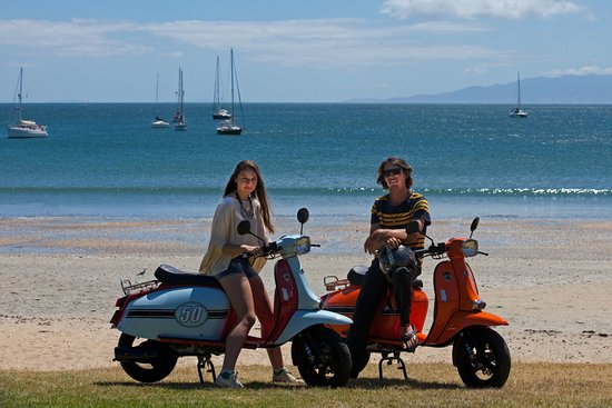 Oneroa, New Zealand: Retro Scooter Rentals on Waiheke Island