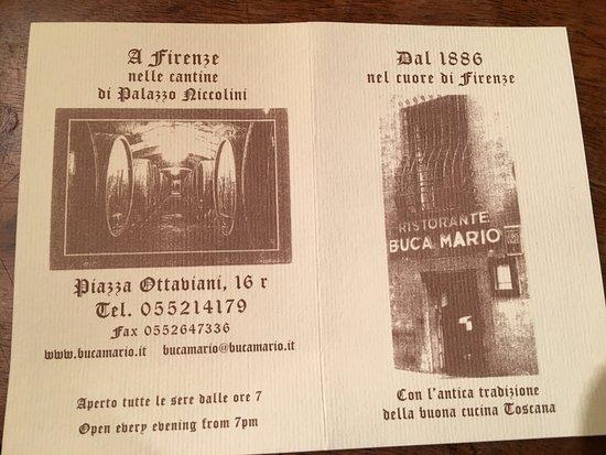 Ristorante Buca Mario La Carte De Visite Du Restaurant
