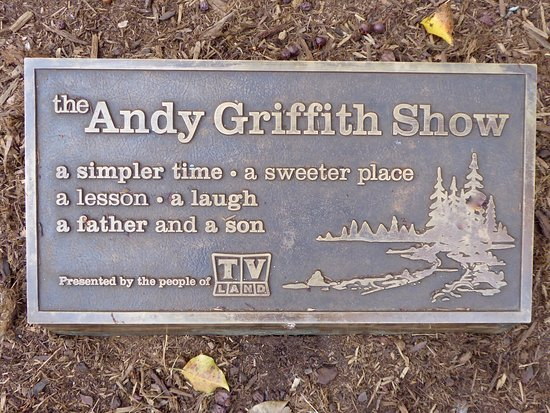 Mount Airy, NC: Plaque at the base of the Andy and Opie statue