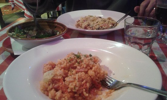 Da Vinci's: The risotto, foreground, was a little dry and carbonara could have been creamier