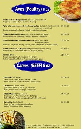 Restaurante Metro de Asado: menu