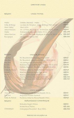 Restaurante Metro de Asado: carta de vinos