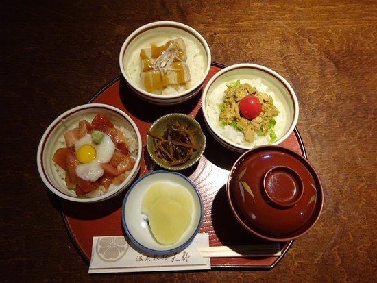 Onsen Ryokan Yano: まぐろ3色丼