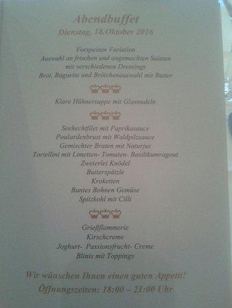 The Monarch Hotel: Speisekarte Abendbuffet