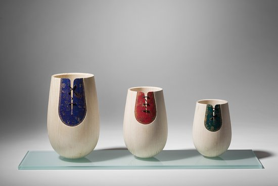 "Navan, Irland: "" A Stitch In Time"" - Bleached Irish Ash vessels with painted artists canvas and stitching"