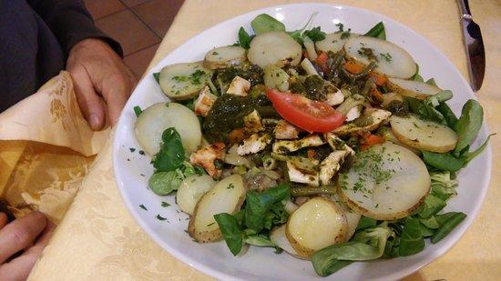 Cantonmezzo: insalata con pollo verdure e salsa verde