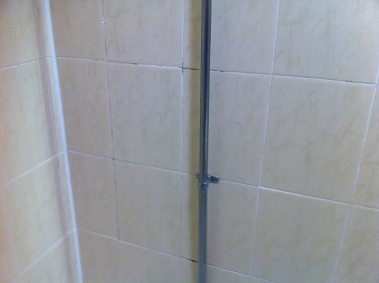 Standish, UK: Black mold in grout of tiles in shower