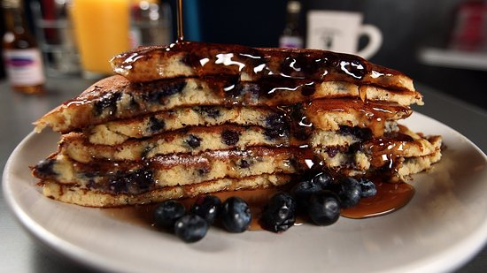 The Roundabout Diner & Lounge: Jumbo Blueberry Pancakes W/ Real NH Syrup
