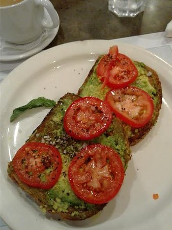 Turning Point: There is no avocado slices, just a little smashed piece of avocado.
