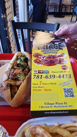 Marblehead, MA: Vegetarian po-boy with menu from restaurant