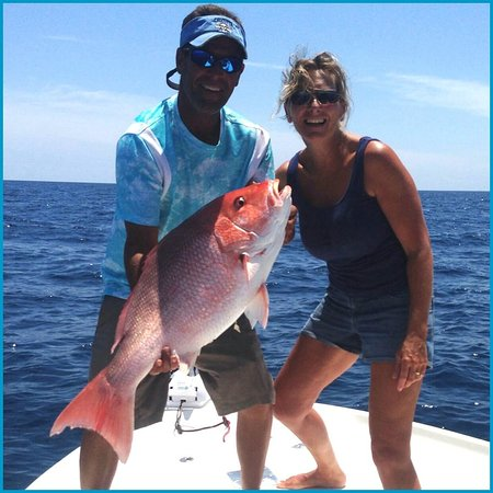 A red snapper caught while bottom fishing near daytona for Florida commercial fishing license