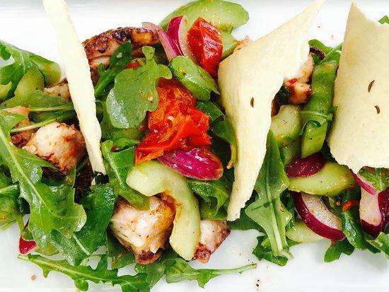 Bistango Restaurant: CHARRED OCTOPUS SALAD  Cucumber, Marinated Peppers, Onion, Focaccia Cracker