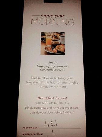 Hyatt Centric The Woodlands: Love this warm welcoming! You can order your breakfast for the next day by completing this and h