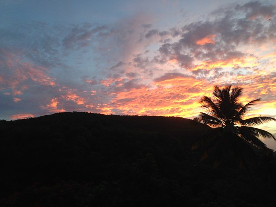Anse La Raye, St. Lucia: One of the many beautiful sunsets to be seen from the balcony!