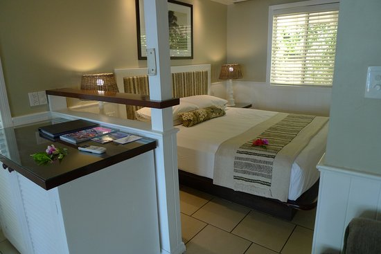 Malolo Island Resort: Bure included bedroom, shown, lounge area, bathroom and veranda.