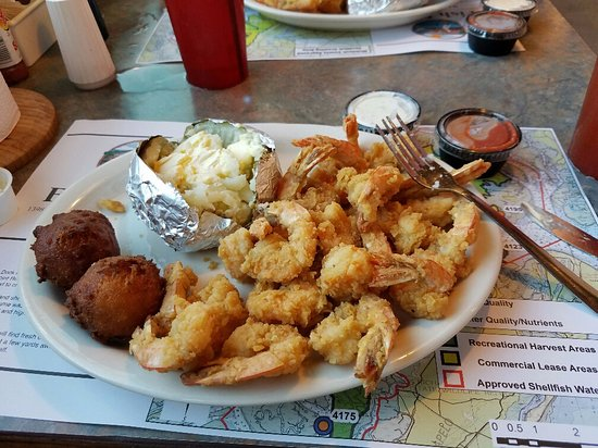 The Fish Dock At Pelican Point Fried Shrimp Platter With Loaded Baked Potato And Hush