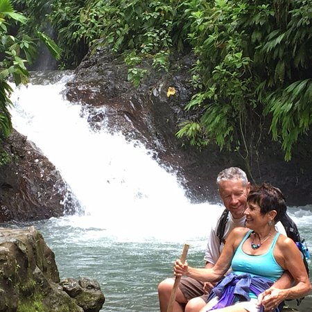 Parrita, Kosta Rika: Grand prize, a lovely rushing waterfall with lots of the prized Morpho butterflies
