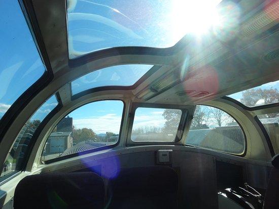 Conway Scenic Railroad: inside the dome car