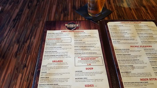 menu picture of backyard bar and grille enfield tripadvisor rh tripadvisor com  backyard bar and grill enfield
