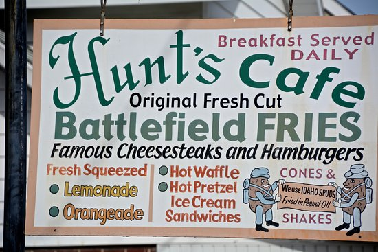 Hunt's Battlefield Fries & Cafe': Sign outside. I would have posted the exterior except that it had a presidential election sign.