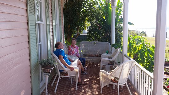 Riverside Bed and Breakfast: WITH DURELL ON THE VERANDA...NICE