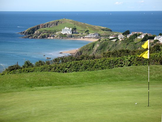 Bigbury-on-Sea, UK: Burgh Island from our 15th