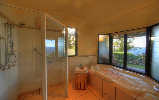 At Remingtons Lodge & Private Cottages: Shalalah cabin indoor spa bath