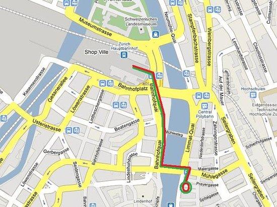 Hostel Krone: map Hotel Krone Limmatquai