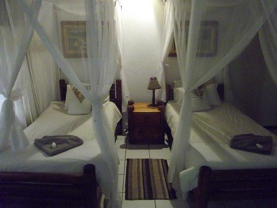 Tremisana Game Lodge: お部屋のベッドです。天蓋のように見えて実は蚊帳です。