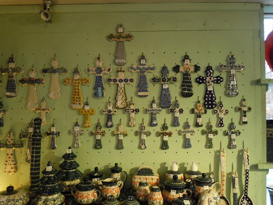 Crosses made of Polish Folk Pottery at Holley Ross Pottery.
