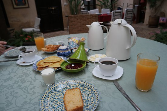 Riad Aguerzame: One of the Breakfasts in the morning