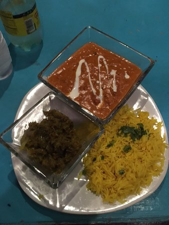 Morena's Taste of India: Delicous Butter Chicken, rice, and egg plant subji.