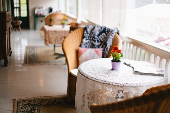 Bedford, PA: Our three season porch offers a cozy space for guests to enjoy their morning coffee!