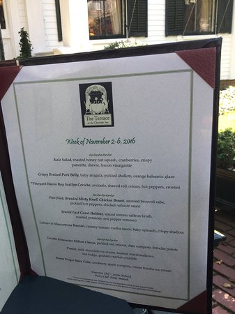 The Terrace at The Charlotte Inn: Prix fixe menu changes weekly