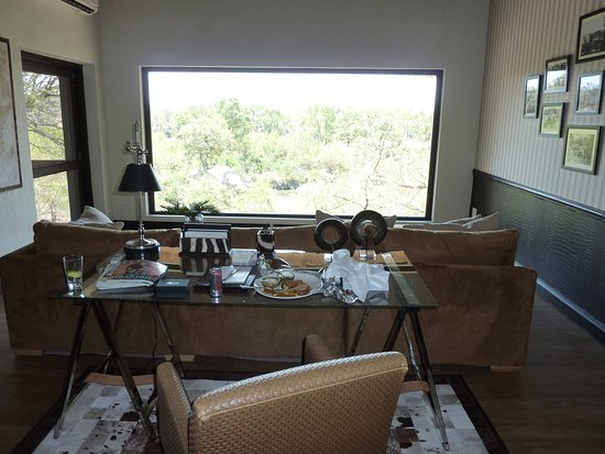 Londolozi Private Game Reserve, South Africa: Living area looking out on the bush and river