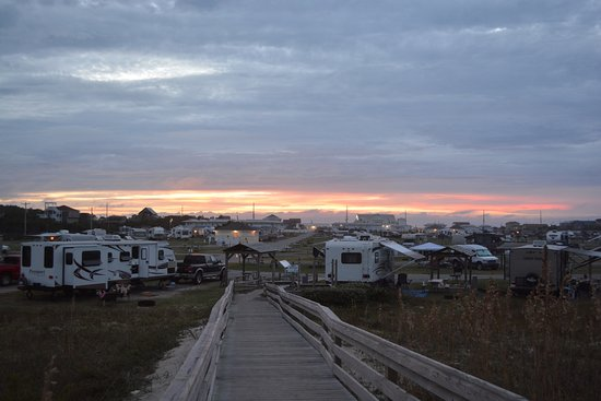 Rodanthe, NC: view of the campground from the ocean dunes at sunset